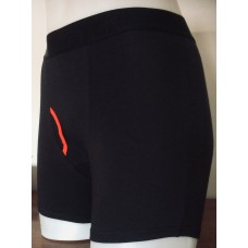 Black Boxer Shorts with Contrast Red Keyhole