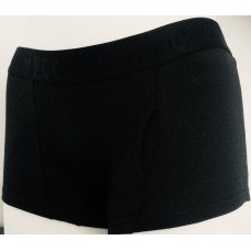 Plain Black Boy Shorts - 92% cotton with keyhole and black FOCX elastic
